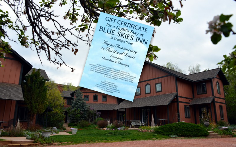 Gift Certificates for Blue Skies Inn
